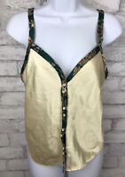 Vintage Women's Green and Ivory Satin Button Up Night Cami Tank Petra Size Large