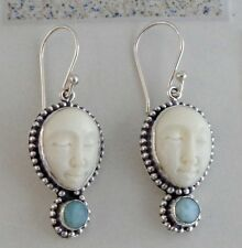 Larimar Face Design Solid Silver, 925 Bali Handcrafted Bone Earring 38554