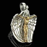 Saint St Michael Pendant Archangel Angel Wings Metal Necklace Jesus Catholic