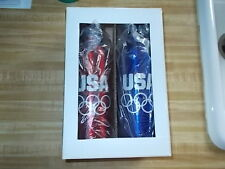 Nib Usa Olympic Team Aluminum Sports Water Drink Bottle Blue & Candy Apple Red