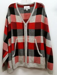ATKO Size M L Red Plaid Zip Up Front Pockets Cardigan Wool Blend Cape Sweater