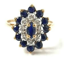 9ct Gold Cluster ring Sapphire & Diamond Flower 2.3g Size K Yellow Gold 14.9mm