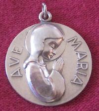 Vintage Catholic Religious Holy Medal - LARGE STERLING - AVE MARIA - STUNNING