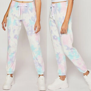 NEW Reflex Soft Fleece White Pastel Tie Dye Lounge Wear COZY Jogger Sweat Pants