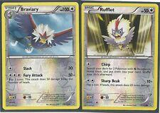 RARE BRAVIARY #112 & RUFFLET #111- DRAGONS EXALTED Pokemon Cards- REV HOLO MINT