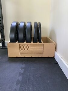 Hand made bumper plate storage. MDF board, CNC routed custom design