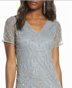 Pisarro Nights Womens Light Blue Beaded Mesh Gown V Neck Short Sleeves Size 10.