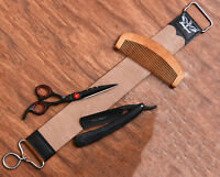 Straight Cut Throat Razor+ 7cm Wide Leather Strop Honing Sharpening Belt Brus
