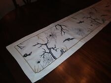 Witch Crafters Halloween Fall Table Runner Bats Spiders 100% Cotton 13x66