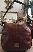Tignanello Croc Embossed Tan Brown Leather Hobo Shoulder Handbag Purse EUC