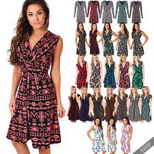 Plus Size V Neck Sleeveless Short/Mini Dresses for Women