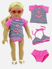 "Doll Clothes 18"" Bathing Suit Pink Navy Bikini Top Fits American Girl Dolls"