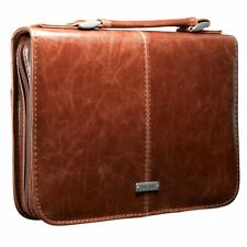 Classic Large Leather Look Bible Book Cover Protective Case Cross Engraved Brown