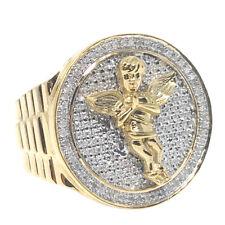Men's Big Bold Genuine Real Diamond Yellow Gold Finish Angel Pinky Ring Band New