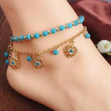 2pcs/Set Turquoise Beads gold Chain Anklet Ankle Bracelet Foot Jewelry