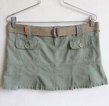 MISO Mini Skirt Size L Pleated Army Green Belted Casual Beach Front Pockets Zip