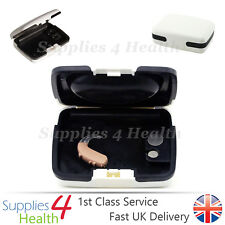 Hearing Aid Case White Large Storage Hard Carry Case Heavy Duty Battery Holder