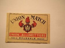 Union Match-UNION ALLUMETTIERE-Made in Brussels Belgium/allumette étiquette