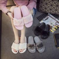 Pantofole da Donna Slip On Passanti Felpa Morbidi Pelo Sandalo Infradito Basse