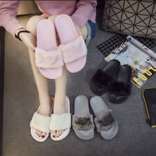 6dd7abcea834 Women Ladies Fur Slides Fuzzy Furry Slippers Comfort Sliders Sandals Shoes  Size
