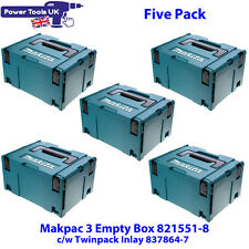 Makita Five Pack 821551-8SP Makpac Connector Case Type 3 c/w 837864-7 Inlay