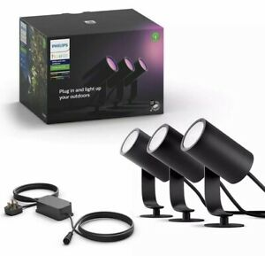 Philips Hue Lily White and Colour Ambiance LED 3X Spotlight & Base Unit
