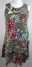 Joe Browns Floral Sleeveless Tunic Linen Blend Top Size 10 Green