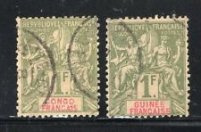 French Congo + Guinea 1892 Navigation & Commerce 1Fr Values Fine Used CV$80