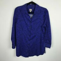 Chico's Tunic Blouse Size 1 Long Sleeve Button Front Blue ish Purple Shirt Top