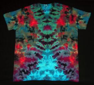 T-Shirt Gr.L kurzarm handgefärbt Hippie Tie dye Batik Flower Power Goa NEU