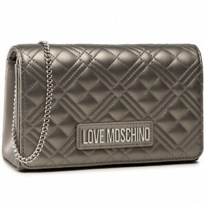 Woman crossbody bag Love Moschino in grey faux leather purse with shoulder chain