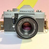PRAKTICA MTL 3 35MM SLR CAMERA W/ F/1.8 50mm Pentacon Lens No Meter! Working