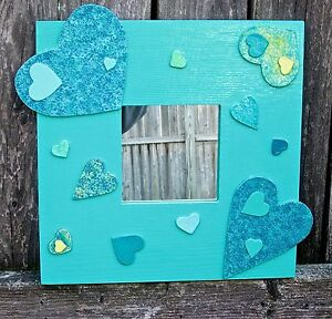 LOTS-OF-LOVE HEARTS MIRROR - AQUA / TEAL - SQUARE, WOOD FRAME by MJG's CREATIONS
