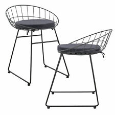 [en.casa]® Set de 2 chaises en métal avec coussin de siége - gris