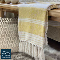 Luxury Large Soft Mustard Yellow Grey Checked Fringed Sofa / Bed Blanket Throw