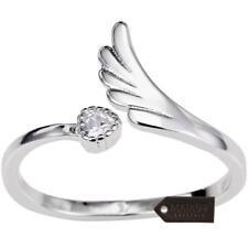 Elegant Rhodium Plated Wrap Ring W/ Wing & Beautiful CZ Stone By Matashi Size 8