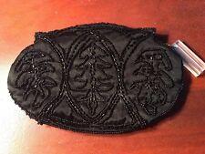 Vintage Black Beaded Evening bag Taffeta Bugle Beads