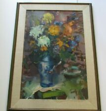 VINCENT FARRELL PAINTING LARGE 36 INCH FLORAL AMERICAN IMPRESSIONIST FLOWERS BIG