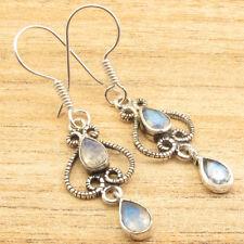 Vintage 925 Silver Pear Natural Moonstone Drop Dangle Hook Earrings Wholesale