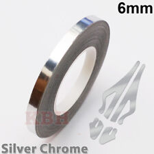 "6mm Self Adhesive Coachline Pin Stripe Vinyl Tape Sticker 1/4"" CHROME SILVER"