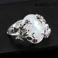 Fashion Ring 5-10 Wedding Plum 925 Silver Opal Fire Flower Size Women Jewellery