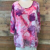 CHRISTOPHER & BANKS Women's XL Pink/Purple Elbow-Sleeve TOP/TANK COMBO ~ NWOT