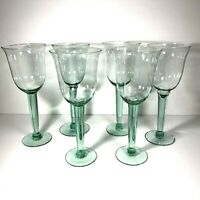 Set of 6 Mexican Large Wine Glasses or Water Goblets Green Hand Blown Mexico