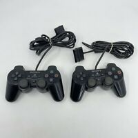 Lot of 2 PS2 Playstation 2 Dualshock 2 Controllers OEM Black For Parts/Repair