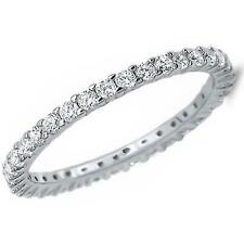925 Silver Princess Cut CZ Eternity Wedding Band Ring Size 8
