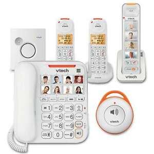 VTech Phones BUNDLE Amplified Extra Loud Ringer Big Picture Buttons SOS Pendant