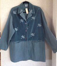 COTTON USA New Jacket Large TRADER RICKS Long Tunic Soft Gauzy Cotton Blue Teal