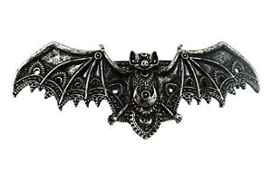 Restyle Gothic Lace Bat Vespertilio Vampire Bat Hair Barrette Hair Clip - Silver