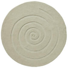 Think Rugs Spiral 100 Wool Hand Carved Round Rug Ivory 180 Cm Diameter