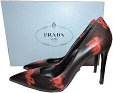 PRADA Black Graffiti Leather Classic Pointy Toe Pump Shoe 36.5 -6 HEELS